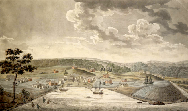 Baltimore, 1792. I think the convention center would be just past those white houses near the ship. Thanks to work by paleoecologist Grace Brush, we know a lot about how urbanization has impacted the Chesapeake Bay!